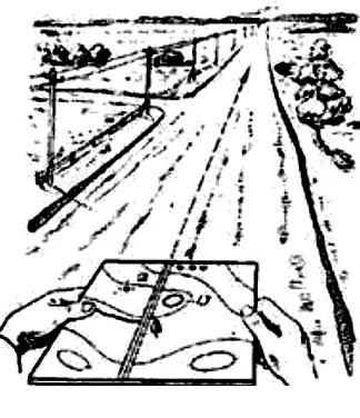 Репродукция с учебного плаката МО СССР «Ориентирование на местности без компаса»