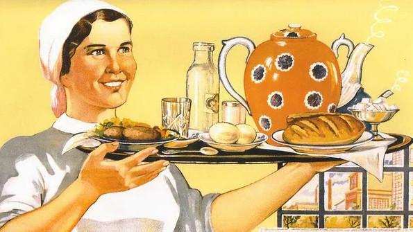 Репродукция с плаката СССР об организации общественного питания