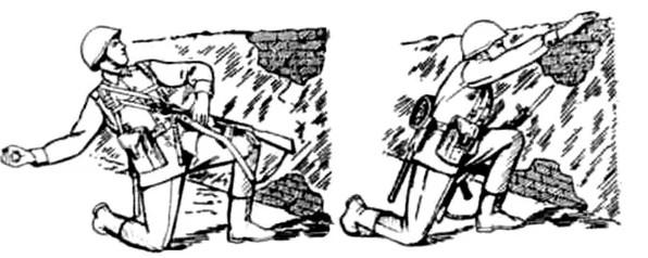 Репродукция учебного плаката МО СССР по метанию ручных гранат