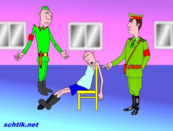 Карикатура. Почему нельзя смотреть телевизор в армии?