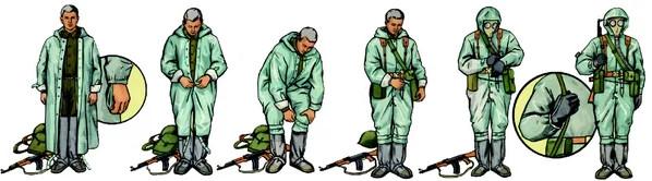 Солдаты в ОЗК. Репродукция с плаката по РХБЗ, МО СССР
