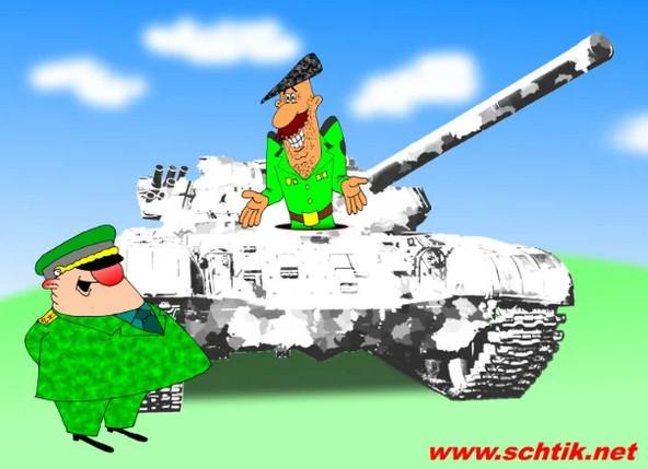 Военные анекдоты про трех поляков, танкиста и собачку. Карикатура